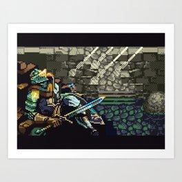 Dark Souls Gameboy Demake: Oscar's Last Wish ( no text version) Art Print