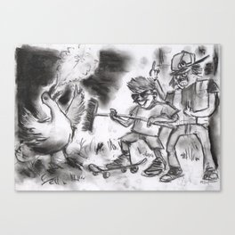"""""""Teens Fighting a Goose"""" (from Farts 'N' Crafts episode 5) Canvas Print"""