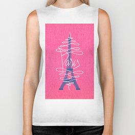 Girly Eiffel Tower Pink Whimsical Paris Typography Biker Tank