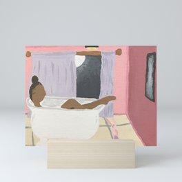 Soaking in a Clawfoot tub Mini Art Print