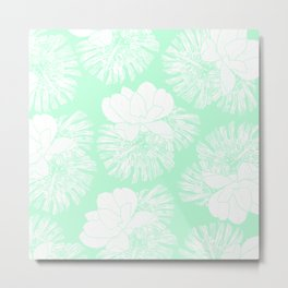 Tropical neo mint white monster leaves lotus floral Metal Print