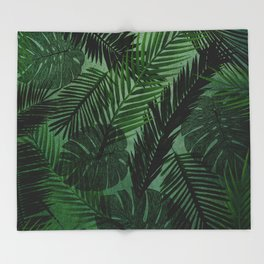 Green Foliage Throw Blanket
