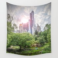 central park Wall Tapestries featuring Central Park Dreams by MikeMartelli
