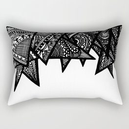 Triangle Henna Print- B+W Rectangular Pillow