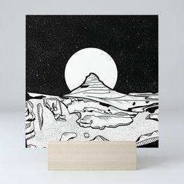 Iceland Mountain Black and white Mini Art Print
