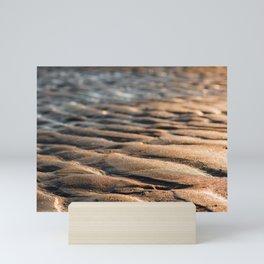 Sand waves at the beach    Patern, abstract art, modern, beachscape, coast    travel photography art print Mini Art Print