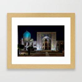 Tilya-Kori Madrasah in Registan square - Samarkand, Uzbekistan Framed Art Print