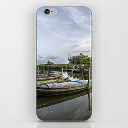 Boats in a lagoon port iPhone Skin