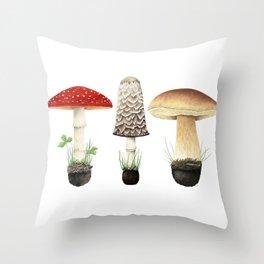 Three Mushrooms Throw Pillow