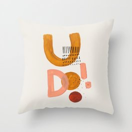 'Scream & Shout' Earth Tones Neutral Warm Colors Fun Space Shapes Yellow Ochre Tan Brown by Ejaaz Haniff Throw Pillow