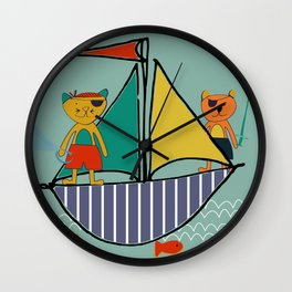 Pirate Boat teal Wall Clock