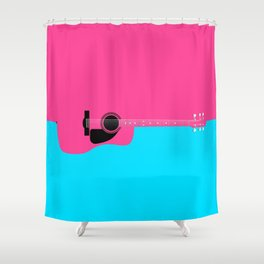 Pink Acoustic Guitar Background Shower Curtain