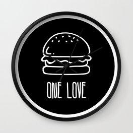 ONE LOVE, BURGER LOVE Wall Clock