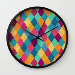 Circus Multicolor Rhombuses Wall Clock