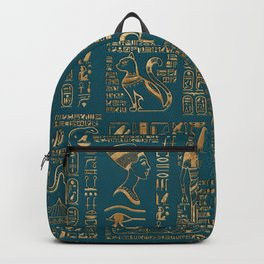 Egyptian hieroglyphs and deities - Gold on teal Backpack