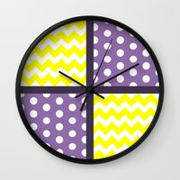 polkadot Wall Clocks featuring Renamon Inspired Chevron/Polkadot by Ganene the Griffox