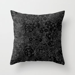Clockwork B&W inverted / Cogs and clockwork parts lineart pattern Throw Pillow