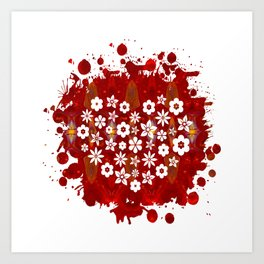 Red Heart Of Flowers Fantasy Designs Abstract Holiday Art  Art Print
