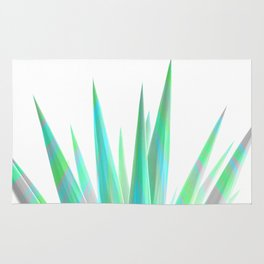 Tropical Allure - Green & Grey on White Rug