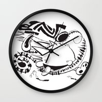 hobbes Wall Clocks featuring Calvin and Hobbes line-work caricature design by Eric Goodwin