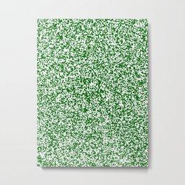 Tiny Spots - White and Dark Green Metal Print