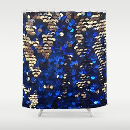 Gold and Blue Glitter Pattern Shower Curtain