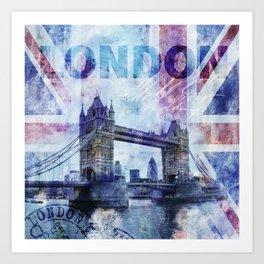 London Tower Bridge Mixed Media Art Art Print