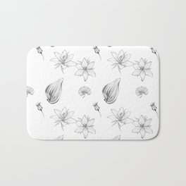 Flowers, Leaves and Seeds Hand Drawn Nature Pattern Bath Mat