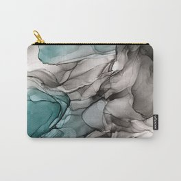 Smoky Grays and Green Abstract Flow Carry-All Pouch