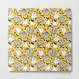 Exotic japanese style yellow ocher flower of tulip tree seamless pattern repeat Metal Print