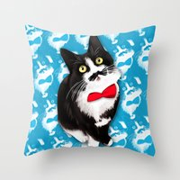 muppet Throw Pillows featuring Muppet the Moustached Cat by EggsBFF