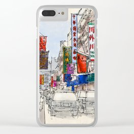 Chinatown original handmade drawing colorful sketch Clear iPhone Case