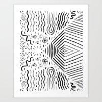 Ink Brush Lines  Art Print