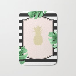 Chic Pineapple & Tropical Leaves Bath Mat