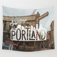 portland Wall Tapestries featuring Explore Portland by cabin supply co