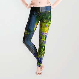 Country Living - Fence Post and Vines Among Bluebonnets and Indian Paintbrush Wildflowers Leggings