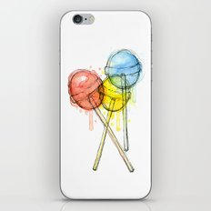Lollipop Red Blue Yellow Candy Food Watercolor iPhone & iPod Skin