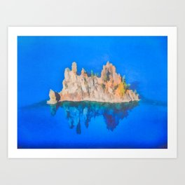Phantom Ship Island Crater Lake Art by Priya Ghose Art Print