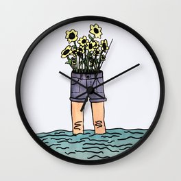 flowers grow wherever you let them Wall Clock
