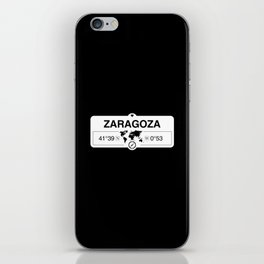 Zaragoza Aragon with World Map GPS Coordinates and Compass iPhone Skin
