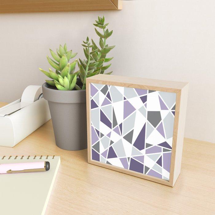 Geometric Pattern in purple and gray Framed Mini Art Print