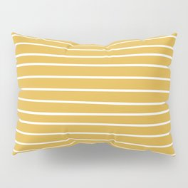 Colorful Stripes, Mustard Yellow and White, Abstract Art Pillow Sham