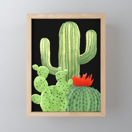 Perfect Cactus Bunch on Black Framed Mini Art Print