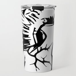 Floral Mexican Heart - black and white Travel Mug