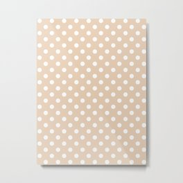 Small Polka Dots - White on Pastel Brown Metal Print