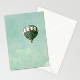 Vintage Red, White, and Blue Hot Air Balloon on Robin's Egg Blue Stationery Cards