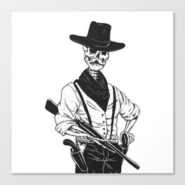 Sheriff with mustache and rifle Canvas Print
