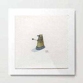 Drawing #34 - A Tiny Dr. Who Golden Dalek Metal Print