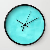 plain Wall Clocks featuring Aquamarine Plain by Kris Sheather