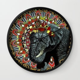 Elephant Red and Gold Indian Yoga Mandala Wall Clock